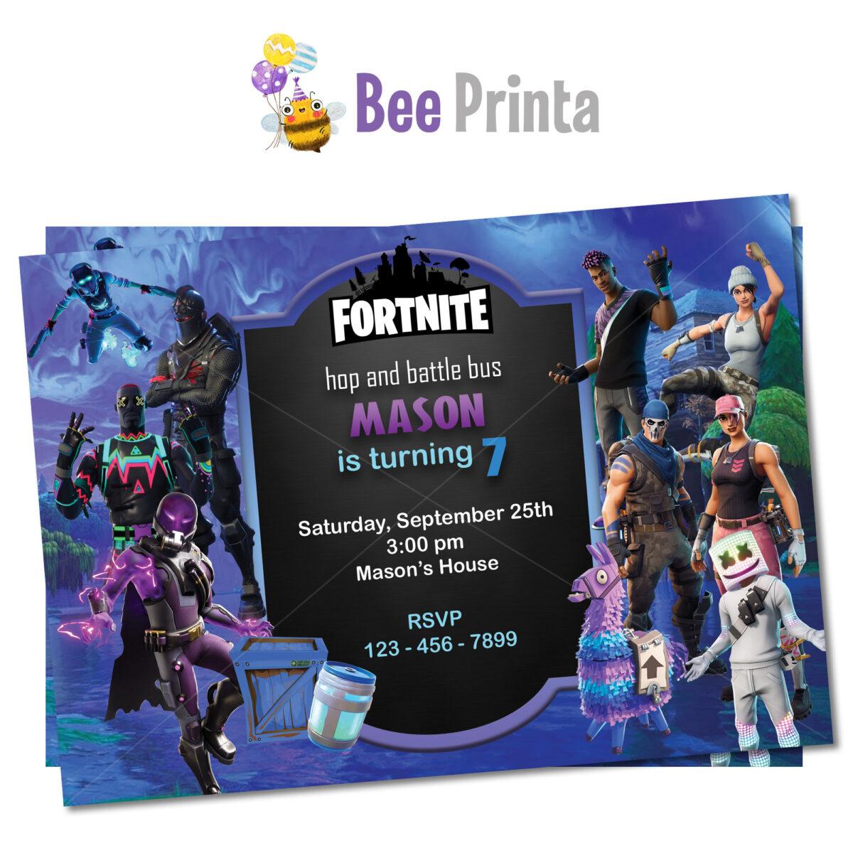 Fortnite birthday invitation