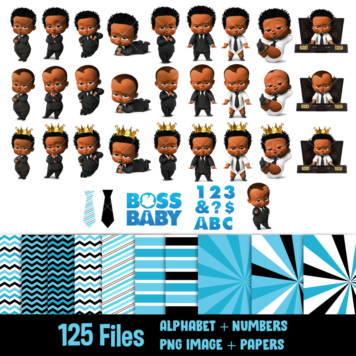 Afro boss baby clipart