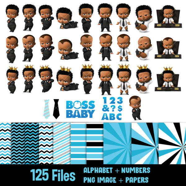 Afro American boss baby clipart
