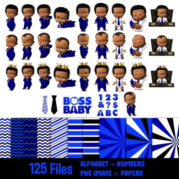 Afro American boss baby blue clothes